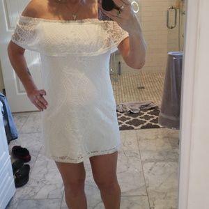 White cold shoulder mini dress NWT